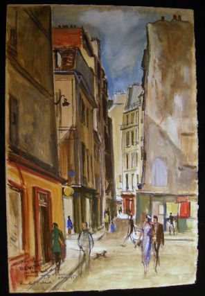 """Rue De L'Echaude"" Original Watercolor on Paper, Inscribed, Titled and Signed, Dated 4 Mai 1956..."
