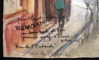 """Rue De L'Echaude"" Original Watercolor on Paper, Inscribed, Titled and Signed, Dated 4 Mai 1956 By Claude Remusat"