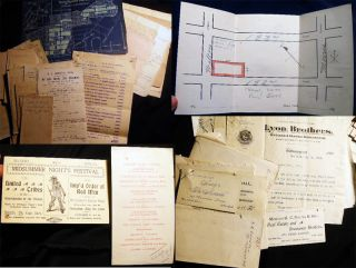 Circa 1900 - 1905 Collection Manuscript Real Estate Development Documents, Maps, Letters...
