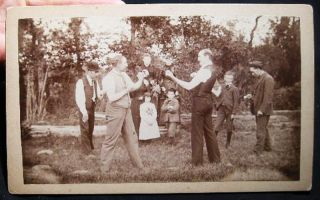 Circa 1870 Cabinet Card Photograph of 2 Men Squaring Off for a Bare Knuckle Fistfight - Perhaps a...