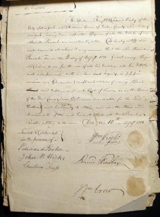 1811 Collection of Manuscript and Printed Documents Regarding the Petition of Alexander Peacock, an Insolvent Debtor of Oyster Bay Long Island New York with Documents Signed By Judge Cary Dunn Jr., Alden Spooner & Others