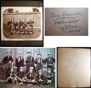 "Circa 1890 8"" x 10"" Photograph of a Baseball Team By Henry Hohenstein Photographer New York...."
