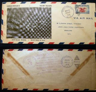 1938 Air Mail Envelope with a Printed Black and White Photographic Birds-Eye View of Greenport,...
