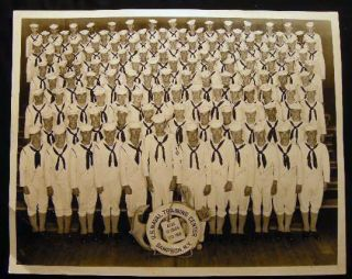 1945 Large Format Potograph U.S. Naval Training Center Sampson, N.Y. Co. 188 Signed By the Members of the Class.
