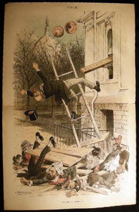 19th Century Double-Page Color Cartoon from Puck: Taking a Tumble. By J. Keppler