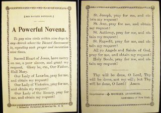 Circa 1900 A Powerful Novena. Americana - Religion - Christianity - Catholicism