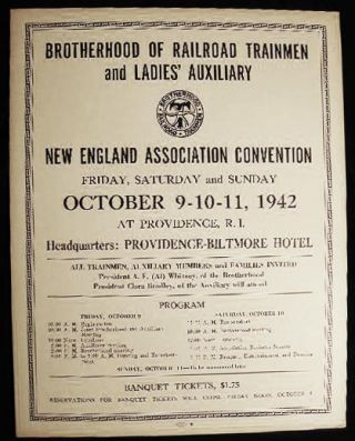 1942 Poster Announcing the Brotherhood of Railroad Trainmen and Ladies' Auxiliary New England...