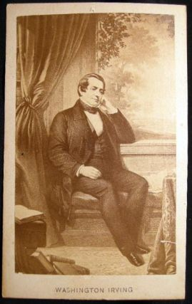 Carte-de-Visite Photograph Portrait of a Painting of Washington Irving. Photography - 19th...