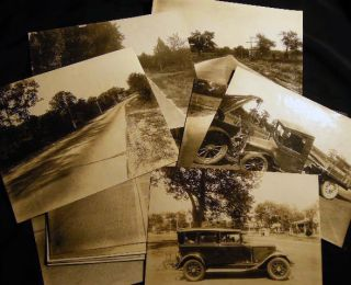 1929 Group of Large Format Photographic Surveys of an Automobile Accident Scene in Patchogue,...