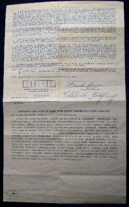 1952 Actors' Equity Association Minimum Contract for Stock Signed By Lolabelle Godfrey Parsons & Shady Lane Theatre Manager Frank Bryan