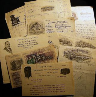 1908 - 1923 Collection of Correspondence, Receipts, Billheads Describing the Jewelry Business of...