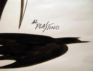 Original Black Ink Marker on Paper Large Format Batman Art Signed By Al Plastino
