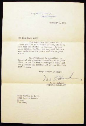 1941 Letter Marguerite LeHand Private Secretary to President Franklin Delano Roosevelt on White...
