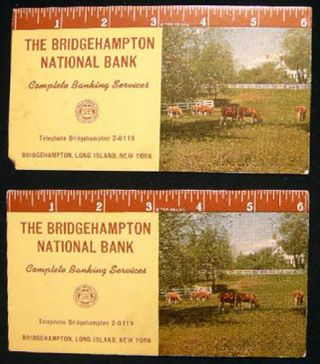 2) Circa 1945 The Bridgehampton National Bank Ink Blotters Printed By the T.D.M. Co. Americana -...