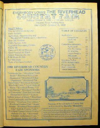 Entry Guide for the 13th Annual Riverhead Country Fair Sunday Oct. 9th, 1988 Information on Vendor Spaces, Competitions, 10k Race, Business Expo and Public Service