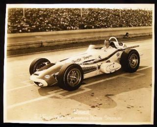 "1964 8"" x 10"" A.J. Foyt Indianapolis Motor Speedway Photograph. Americana - 20th Century -..."