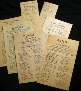 Circa 1920s Group of Song Sheets of The Welsh Society of Philadelphia, Jere Shaw, Lew Gordon,...