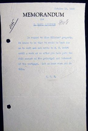1929 Typed Memorandum for D. Basil O'Connor Initialed By Franklin Delano Roosevelt. Americana -...