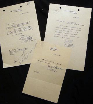 1935 Three Typed Notes on White House Letterhead Signed By Marguerite 'Missy' Le Hand ,M.H....