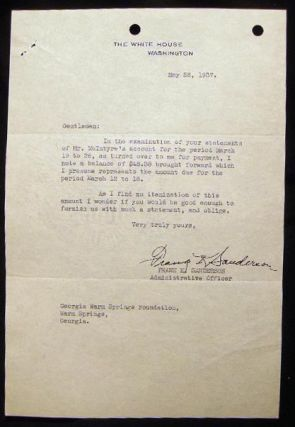 1937 Two Typed Notes on White House Letterhead Signed By Frank K. Sanderson and Ralph W. Magee to the Georgia Warm Springs Foundation