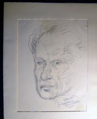 1937 Original Portrait of OSS Chief of Bern, Switzerland Station Paul C. Blum, X-2 Counterintelligence, Yale graduate; By Claude Remusat Inscribed & Signed. With Additional Drawings, Photographs and a Catalog of WWII art of American Military in France