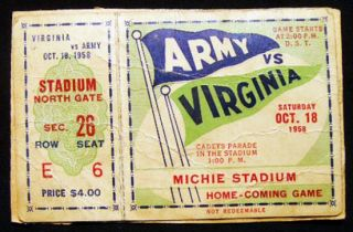 1958 Oct. 18. Army Vs. Virginia Michie Stadium Home-Coming Game Ticket. Americana - 20th Century...