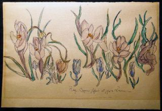 1953 Roof Crocus April 1st Watercolor Art Signed by Leake. Art - 20th Century - Watercolor