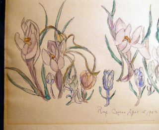 1953 Roof Crocus April 1st Watercolor Art Signed by Leake
