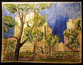 1995 New York City Riverside Park Statue General Sigel Architectural View Large Watercolor Signed...