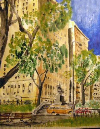 1995 New York City Riverside Park Statue General Sigel Architectural View Large Watercolor Signed G. Langnotot