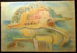 1962 Color Chalk Drawing Inscribed and Signed By Arthur Kaufmann. Art - 20th Century - Arthur...