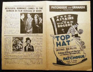 "1935 Patchogue and Granada Theatres Fred Astaire and Ginger Rogers In ""Top Hat"" with Lyrics and..."