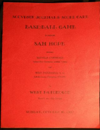 Souvenir Journal & Score Card Baseball Game in Honor Sam Hope Between Sayville Cardinals...