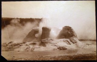 Circa 1891 Yellowstone Photograph of Grotto Geyser By F. Jay Haynes. Americana - 19th Century -...