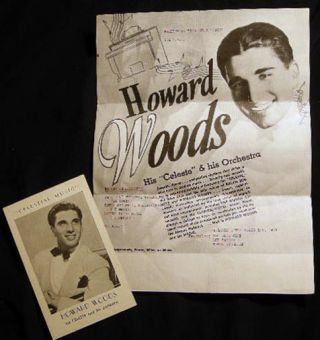 "1939 Flyer and Performance Card for Howard Woods His ""Celeste"" & His Orchestra Smooth,..."