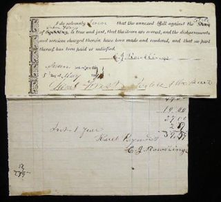 1871 Printed and Manuscript Bill and Receipt from C.J. Rowllings Against the Estate of John Hays...