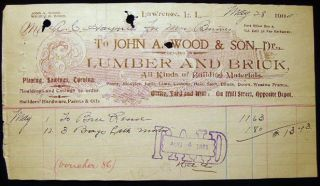1902 Manuscript & Printed Billhead Receipt from John A. Wood & Son Dealers in Lumber and Brick,...