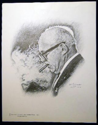 Portrait of George Meany By Bill Schroeder Compliments of the Graphic Arts International Union....