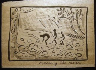 Circa 1990 Crossing the River Ink and Wash on Hand Made Paper Signed By Louise Elena Hoff