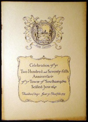 Souvenir Programme of the Celebration of the Two Hundred and Seventy-Fifth Anniversary of the...