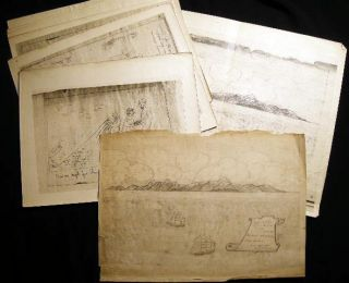 Nov. 22nd, 1881 Original Pencil Drawing Cape St. John Bearing W.N.W. Ship Spartan C.H.F. Reed,...