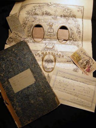Circa 1850 Horse & Cattle Trading Ledger (repurposed) to Literary & Pictorial Scrapbook....