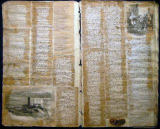 Circa 1850 Horse & Cattle Trading Ledger (repurposed) to Literary & Pictorial Scrapbook