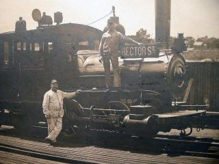 Circa 1900 Large Format Photograph of a Steam Locomotive with Rector St. Sign Attrib. to Hastings...
