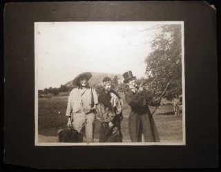 Circa 1910 Large Format Photograph of 3 Young People in Humorous Period Costume