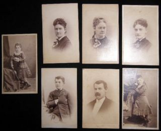 Circa 1880 Group of 7 Portrait Cartes-De-Visite Photographed By Stoddard and Stoddard & Wallace...