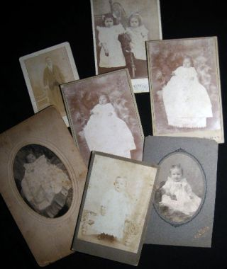 Circa 1880 Group of 7 Photo Portrait Cabinet Cards: Bluefield West Virginia & Pocahontas...