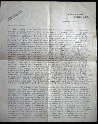 1947 Typed Letter Signed By Molly Pritt, Wife of Denis Nowell Pritt (1887 - 1972) British Lawyer and Political activist, Regarding Her Political Activities and Her Husband, for the Cause of Communism in the UK and the United States.