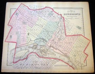Original Double-Page Hand-Colored Map of Maryland Delaware and the District of Columbia (and) Map of Richmond Henrico County, Virginia (and) Baltimore