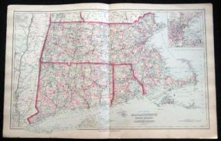 Original Double-Page Hand-Colored Gray's New Map of Massachusetts Rhode Island and Connecticut By...